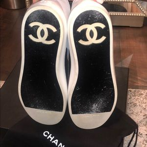 Chanel sneakers size 38.5 black and white